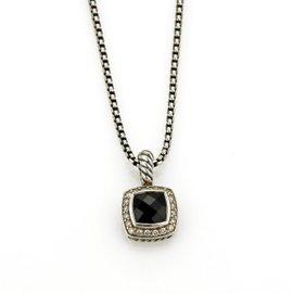 David Yurman Petite Albion 925 Sterling Silver Black Onyx & Diamonds Pendant Necklace