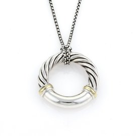 David Yurman Sterling Silver & 18K Yellow Gold Cable Circle Pendant & Chain Necklace