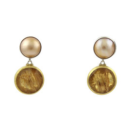 Gurhan 925 Sterling Silver 24K Yellow Gold Red Agate Mabe Pearls Earrings
