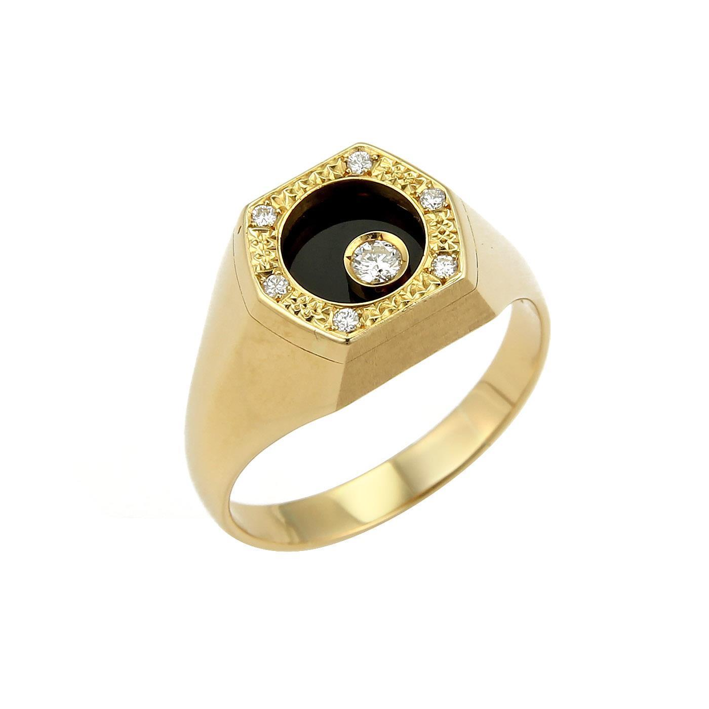 "Image of ""Waltham 18K Yellow Gold Octagon Rotating Diamond Onyx Ring Size 13"""