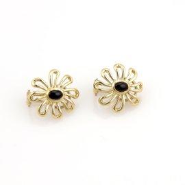 Tiffany & Co. Daisy 18K Yellow Gold & Onyx Flower Earrings