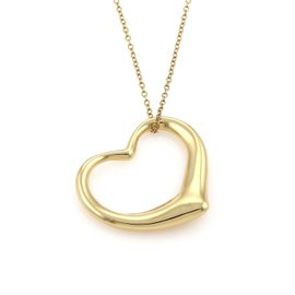 Tiffany & Co. Peretti 18K Yellow Gold Large Open Heart Pendant Necklace