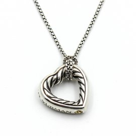 David Yurman Cable Classics 925 Sterling Silver 18K Yellow Gold Heart Pendant Necklace