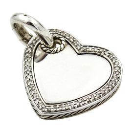 David Yurman 925 Sterling Silver Diamond Cable Heart Enhancer Pendant