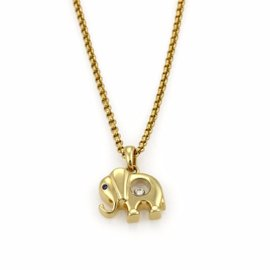 Chopard Happy Diamond 18K Yellow Gold with Sapphire & Diamond Elephant Pendant Necklace