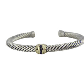 David Yurman 925 Sterling Silver and 14K Yellow Gold with Sapphire Cable Classic Bracelet