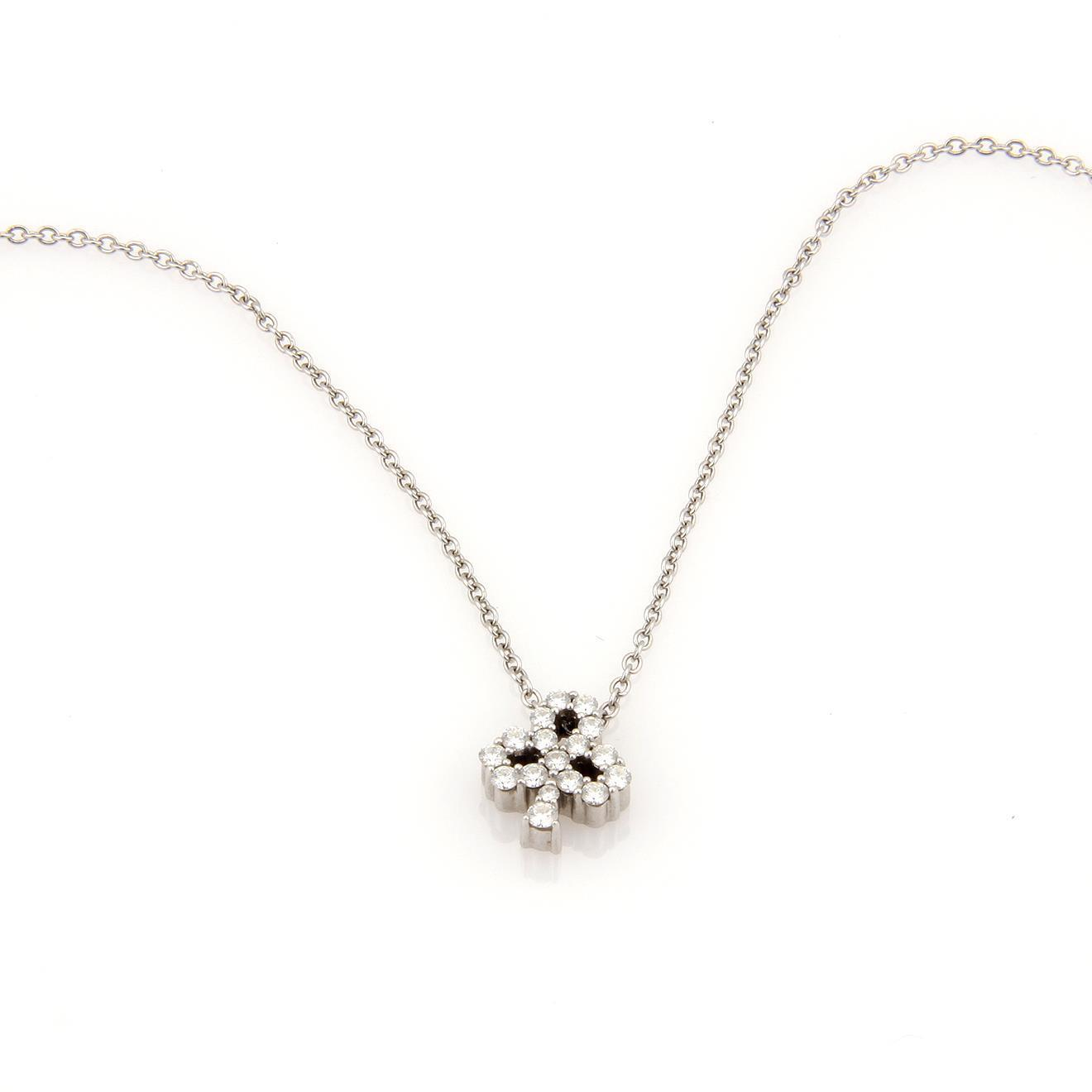 "Image of ""Hearts On Fire 18K White Gold 0.27ct. Diamonds Club Pendant & Chain"""