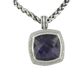 David Yurman 925 Sterling Silver with Amethyst and Diamond Necklace