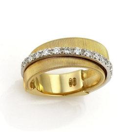 Marco Bicego 18K Yellow & White Gold Diamond Brill Goa Band Ring Size 7.5