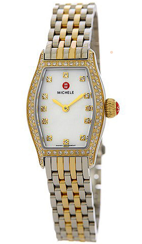 """Image of """"Michele Coquette Mww08a000240 Two-Tone Stainless Steel 27mm Womens"""""""