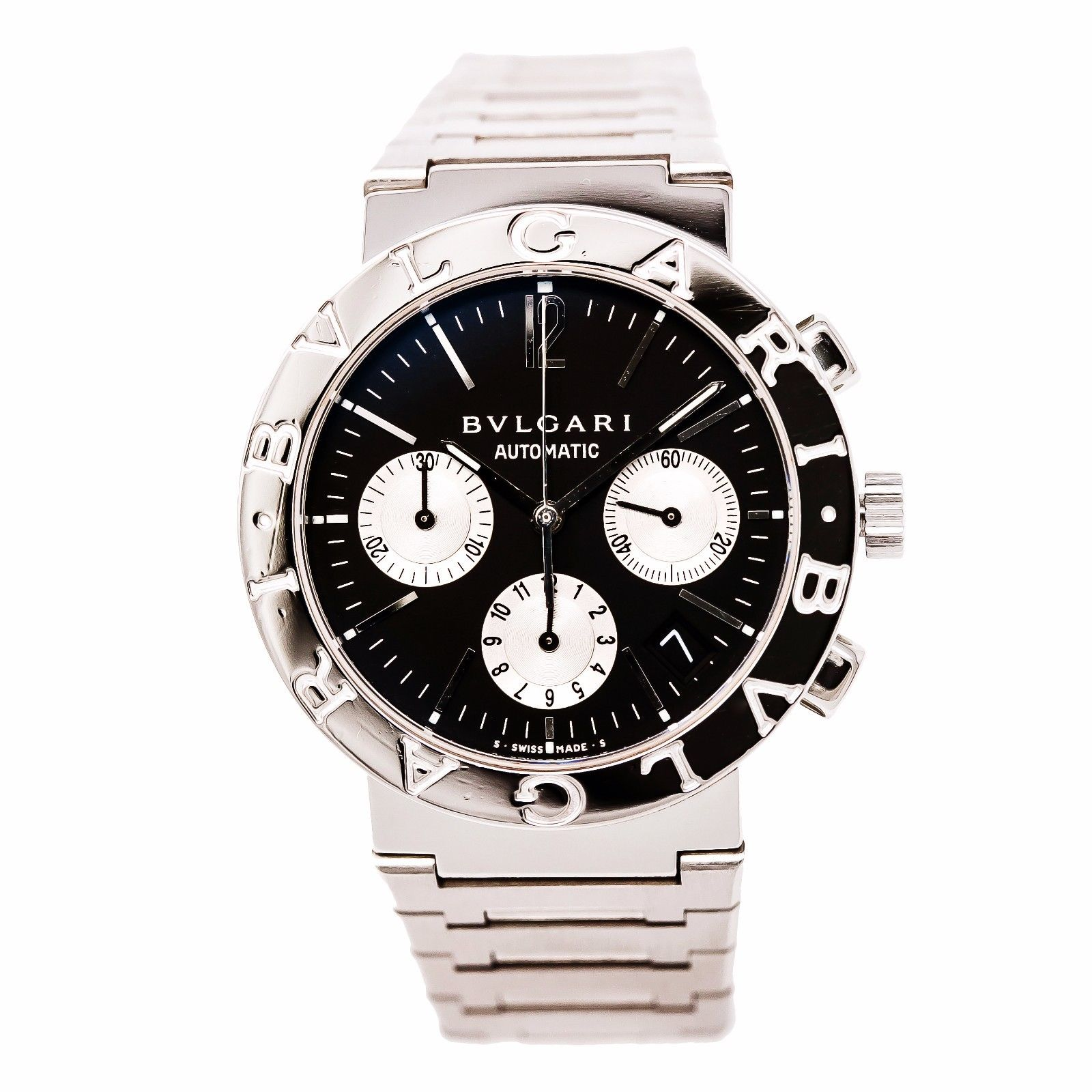 "Image of ""Bulgari Bb38Ssch Stainless Steel Black Dial 38mm Mens Watch"""