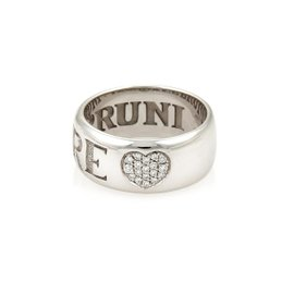 Pasquale Bruni Amore 18K White Gold & Diamonds Band Ring Size 7