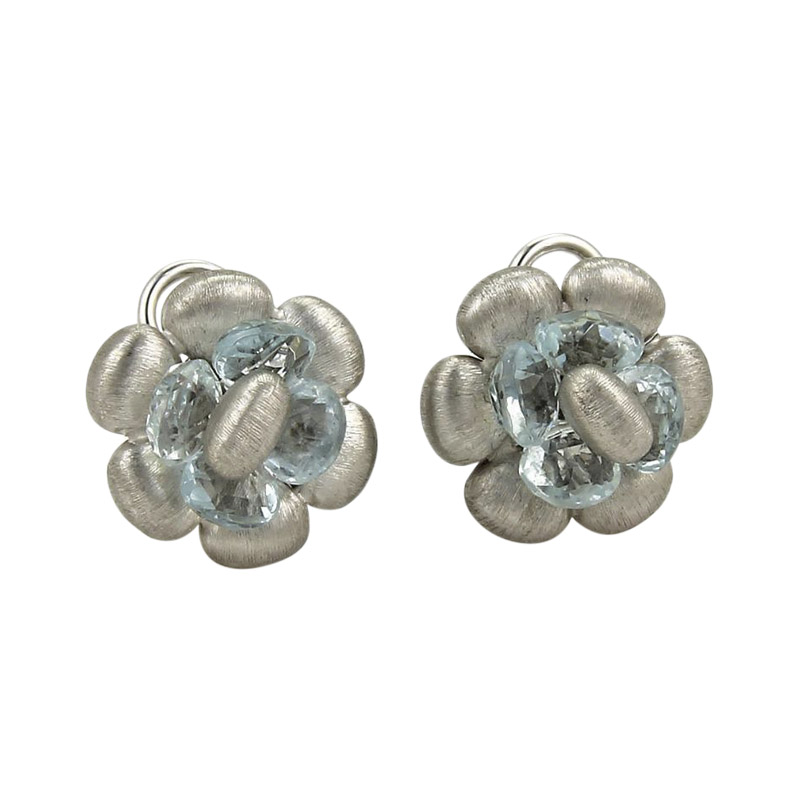 "Image of ""Marco Bicego 18K White Gold & Blue Topaz Floral Post Stud Earrings"""