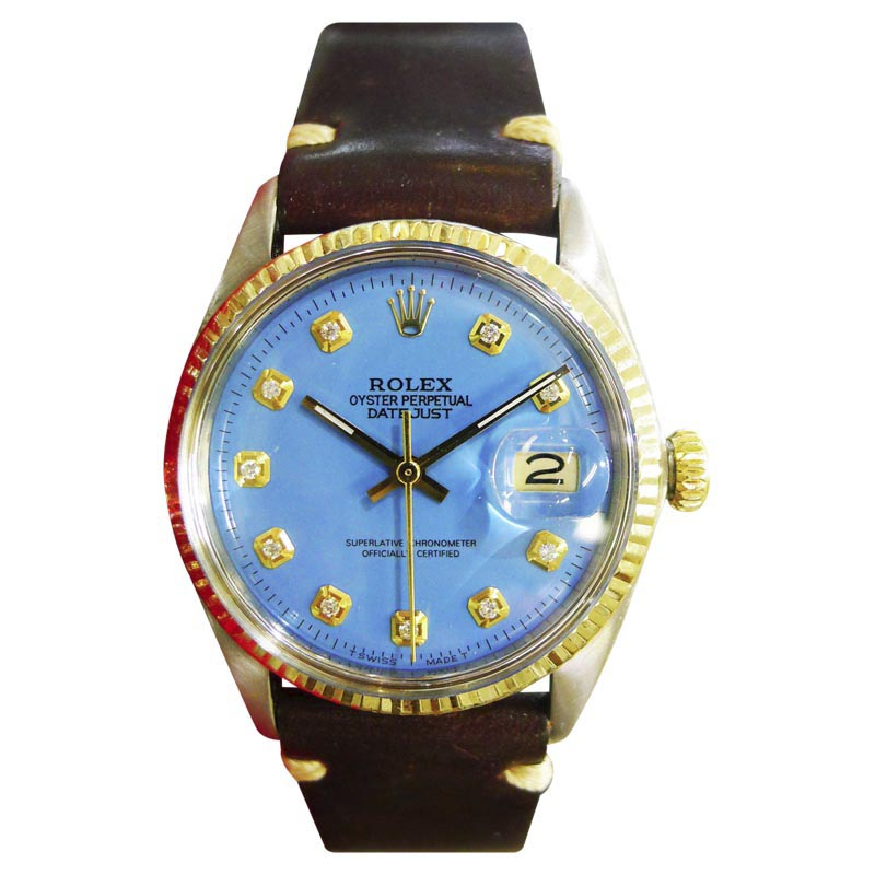 """Image of """"Rolex Datejust Stainless Steel Yellow Gold Blue Dial 36mm Mens Watch"""""""