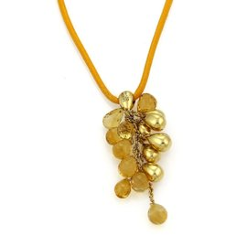 Marco Bicego Acapulco 18K Yellow Gold Citrine Cluster Bead & Cord Necklace