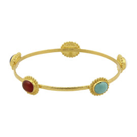 Gurhan 24K Yellow Gold Multi-Stone Hammered Bangle