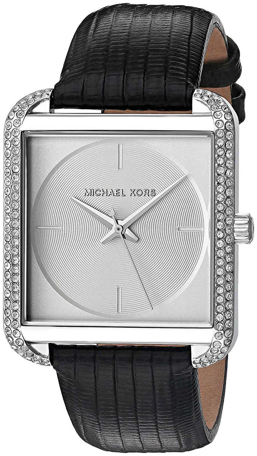 "Image of ""Michael Kors Lake Mk2583 Silver Dial Black Leather Strap 32mm Womens"""
