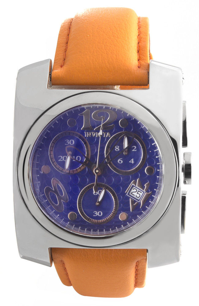 "Image of ""Invicta 2139 Blue Dial Orange Lorica Strap Quartz 40mm Mens Watch"""