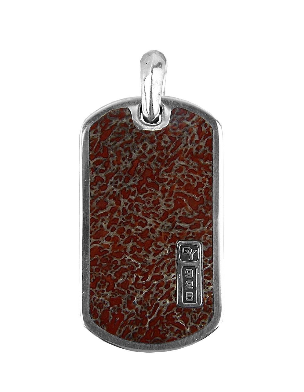 "Image of ""David Yurman 925 Sterling Silver Dinosaur Bone Dog Tag Pendant"""