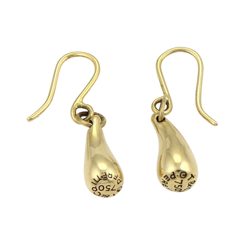 "Image of ""Tiffany & Co. Peretti 18K Yellow Gold Tear Drop Hook Dangle Earrings"""
