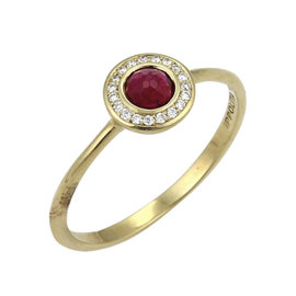 Ippolita Lollipop 18K Yellow Gold Ruby & Diamond Mini Ring Size 7
