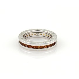 Bulgari B.Zero1 18K White Gold Citrine Quartz Eternity Band Size 5