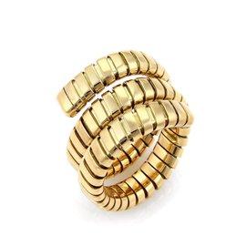 Bulgari Tubogas 18K Yellow Gold Wrap Band Ring Size 7