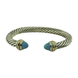David Yurman Cable Classics Sterling Silver and 14K Yellow Gold with Turquoise Bracelet