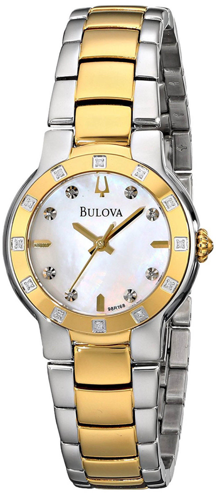 "Image of ""Bulova 98R168 Two Tone Stainless Steel Gold Tone Mother of Pearl Dial"""