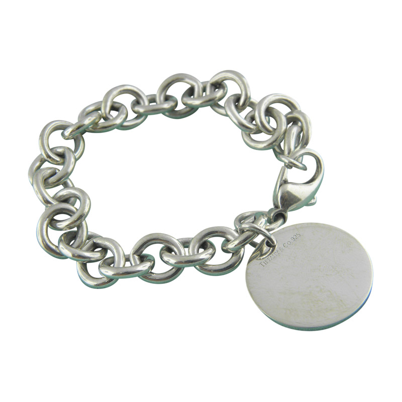 "Image of ""Tiffany & Co. 925 Sterling Silver Round Tag Charm Links Bracelet"""