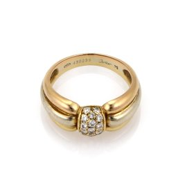 Cartier 18K Yellow, Rose And White Gold Diamond Fancy Ball Dome Ring Size 7