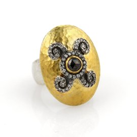 Gurhan Oval 24K Layered Yellow Gold & 925 Sterling Silver Dome Diamond Ring Size 6.5