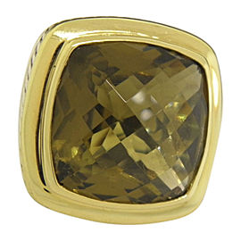 David Yurman 925 Sterling Silver & 18K Yellow Gold with Albion Olive Citrine Ring Size 6