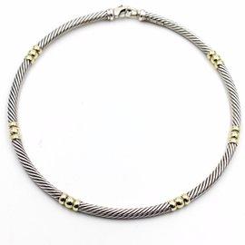 David Yurman Cable Classics 925 Sterling Silver & 14K Yellow Gold Choker Necklace