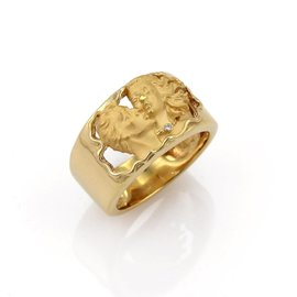 Carrera Y Carrera 18K Yellow Gold Diamond Adam & Eve Band Ring Size 6.5