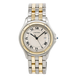 Cartier Panthere Cougar 1332 Stainless Steel / 18K Yellow Gold Quartz 32mm Mens Watch