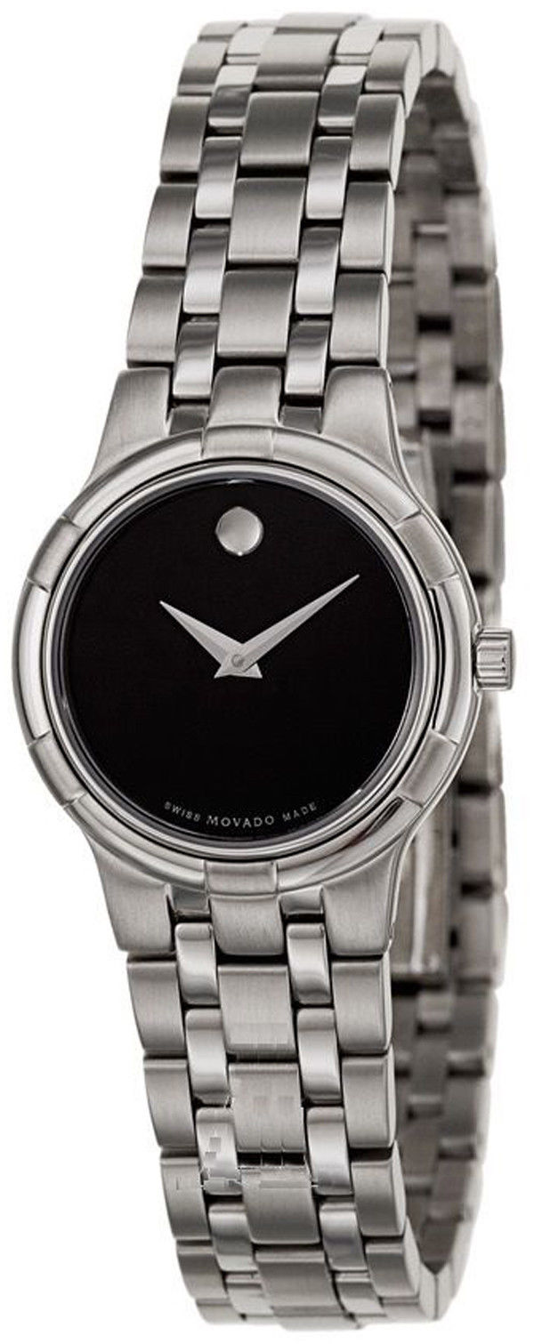 "Image of ""Movado Metio 0606204 Stainless Steel Black Dial 27mm Womens Watch"""