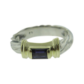 David Yurman 925 Sterling Silver & 14K Yellow Gold with Amethyst Ring Size 5