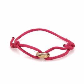 Cartier Mini Trinity 18K Yellow, Rose & White Gold Charm Fuchsia Pink Cord Bracelet