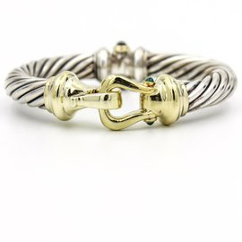 David Yurman Cable Classics Sterling Silver and 14k Yellow Gold Cuff Bracelet with Prasiolite