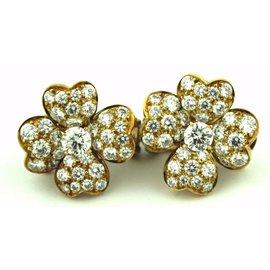 Van Cleef & Arpels 18K Yellow Gold 2.20ct. Diamond Earrings