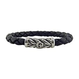 David Yurman 925 Sterling Silver & Chevron Weave Rubber Bracelet