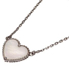 Van Cleef & Arpels 18K White Gold Alhambra Shell Necklace