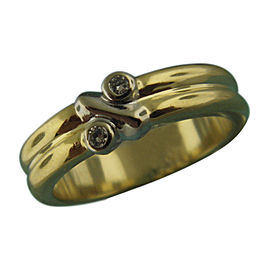 Tiffany & Co. 18K Yellow Gold with Diamond X Design Band Ring Size 6.5