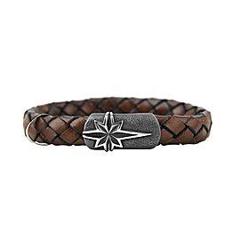 David Yurman 925 Sterling Silver & Brown Leather Star Bracelet