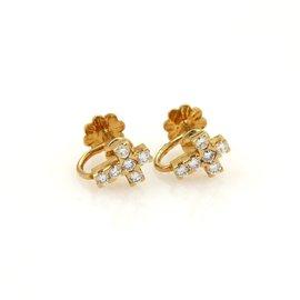 Van Cleef & Arpels 18K Yellow Gold Diamond Cross Earrings