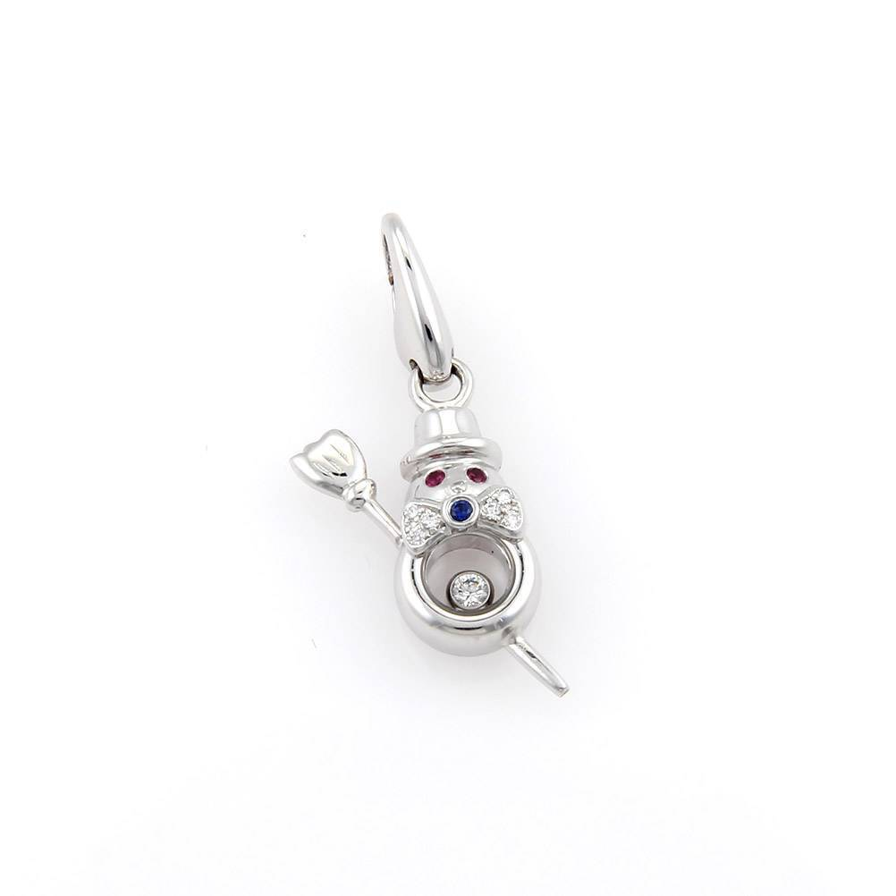 "Image of ""Chopard Happy Diamonds 18K White Gold Snowman Charm Pendant"""