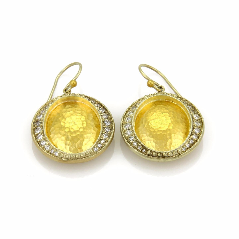 """Image of """"Gurhan Cosmo 24K & 14K Yellow Gold Diamond Oval Hook Dangle Earrings"""""""