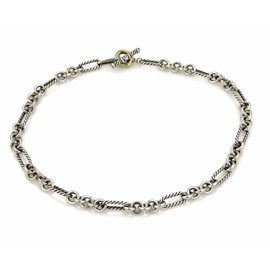 David Yurman 925 Sterling Silver & 18K Yellow Gold Oval Cable Chain Toggle Necklace