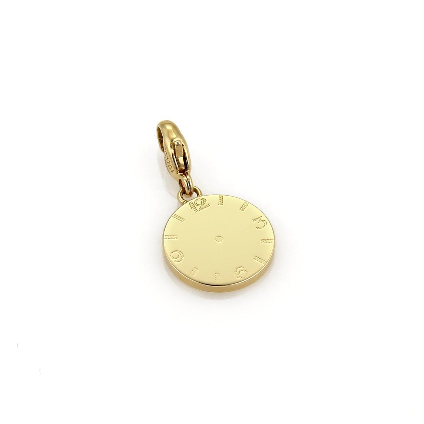 "Image of ""Cartier 18K Yellow Gold Clock Charm Pendant"""